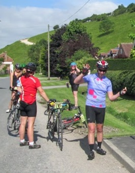 Cyclists pause for a break in Thixendale