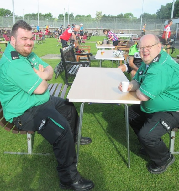St John's Ambulance volunteers relaxing after day 1